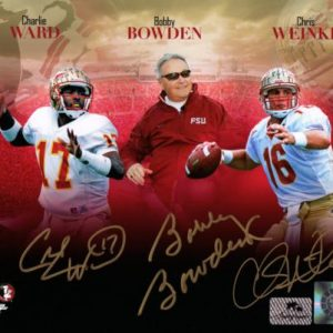 Bobby Bowden, Charlie Ward And Chris Weinke Autographed FSU Florida State Seminoles (Collage) 8x10 Photo