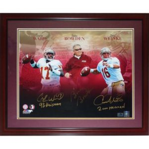 Bobby Bowden, CharlieWardAnd ChrisWeinke Autographed FSU Florida State Seminoles (Collage) Deluxe Framed 16x20 Photo w/ 2 inscriptions