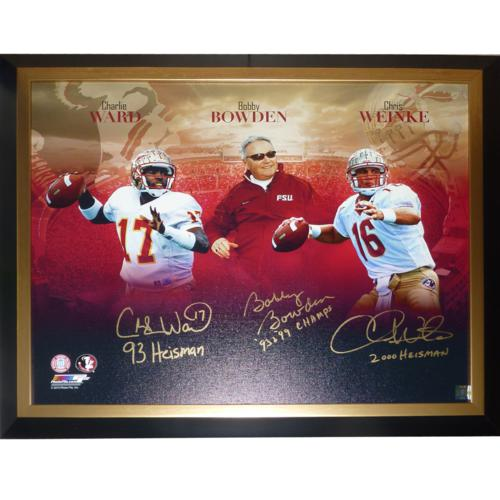 Bobby Bowden, Charlie Ward And Chris Weinke Autographed FSU Florida State  Seminoles (Collage) 24x30 Stretched Giclee Canvas w/ 3 Inscriptions