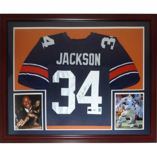 los angeles 218a8 7c7f2 Bo Jackson Autographed Auburn Tigers (Blue #34) Deluxe Framed Jersey -  Jackson Holo
