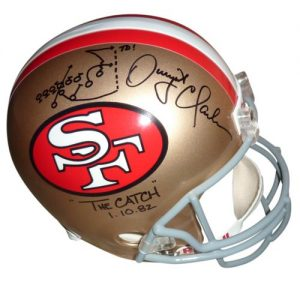 Dwight Clark Autographed San Francisco 49ers Deluxe Full Size Replica Helmet with The Catch Drawn Play