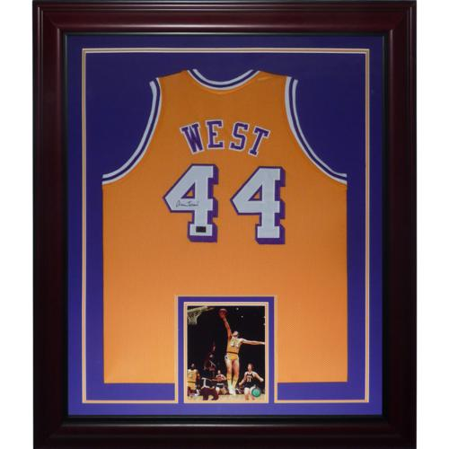 8207d4e17 Jerry West Autographed Los Angeles Lakers (Yellow  44) Deluxe ...
