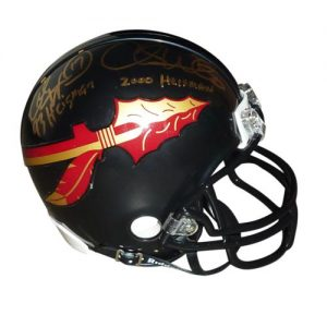 Charlie Ward And Chris Weinke Autographed FSU Florida State Seminoles (Black) Mini Helmet w/ Inscrs
