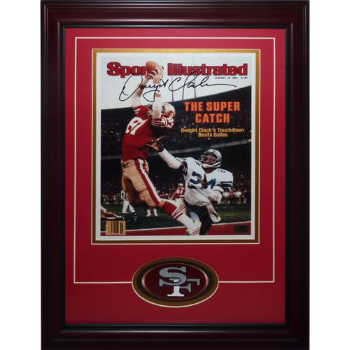Dwight Clark Autographed San Francisco 49ers (The Catch Sports Illustrated) Deluxe Framed 11x14 Photo with Patch