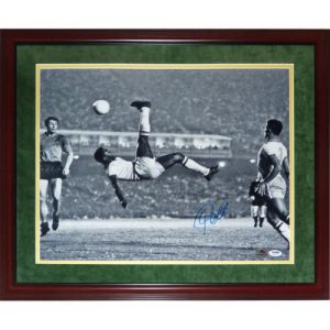 Pele Autographed Team Brazil (Bicycle Kick BW) Deluxe Framed 16x20 Photo - Suede Matting
