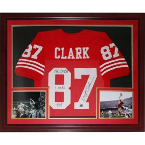 """Dwight Clark Autographed San Francisco 49ers (Red #87) Deluxe Framed Jersey w/ """"The Catch and Date"""""""