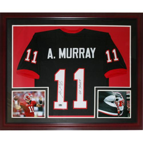 Aaron Murray Autographed Georgia Bulldogs (Black #11) Deluxe Framed Jersey