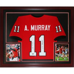 Aaron Murray Autographed Georgia Bulldogs (Red #11) Deluxe Framed Jersey