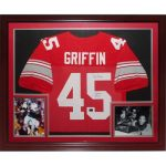 "Archie Griffin Autographed Ohio State Buckeyes (Scarlet #45) Deluxe Framed Jersey w/ ""H.T. 1974/75"""
