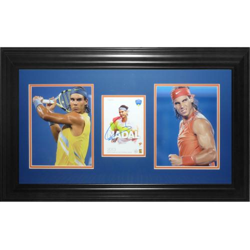 Rafael Nadal Autographed Tennis Postcard Deluxe Framed Piece - JSA
