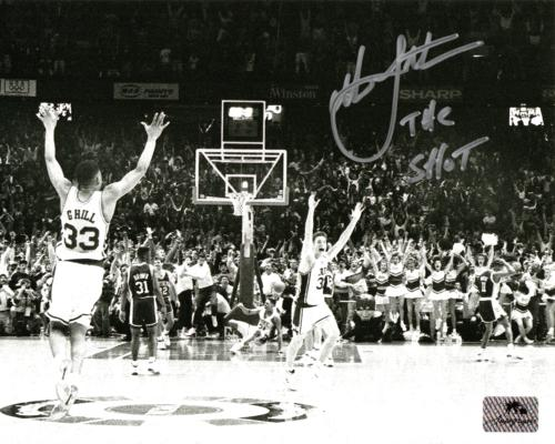 "Christian Laettner Autographed Duke Blue Devils (The Shot Celebration Horiz BW) 8x10 Photo w/ ""The Shot"""