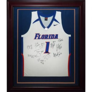 2006-07 Florida Gators Team Autographed (with Billy Donovan) Florida Gators (White #1) Deluxe Framed Jersey