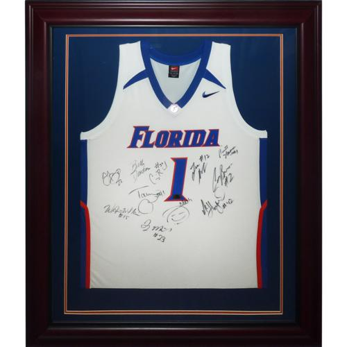 5f0b2b57039 2007 Florida Gators Team Autographed (with Billy Donovan) Florida Gators  (White #1) Deluxe Framed Jersey