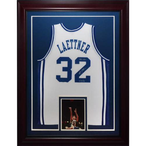"Christian Laettner Autographed Duke Blue Devils (White #32) Deluxe Framed Jersey w/ ""The Shot , 3/28/92"""