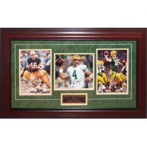 Bart Starr , Brett Favre And Aaron Rodgers Autographed Green Bay Packers Deluxe Triple Super Bowl QB Piece