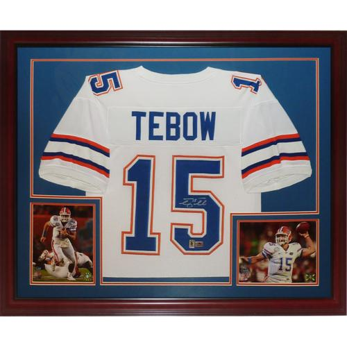 free shipping 93dd8 dd5f1 Tim Tebow Autographed Florida Gators (White #15) Deluxe Framed Jersey -  Tebow Holo