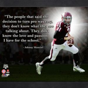 "Johnny Manziel Texas A&M Aggies Framed 11x14 ""Pro Quote"""