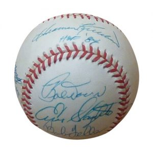 Multiple Hall of Famers Autographed OAL Baseball - Berra , Doerr , Feller , Killebrew , Mathews , Roberts , F Robinson , Slaughter, Wilhelm - Spence LOA