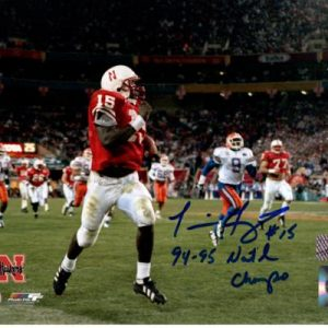 Tommie Frazier Autographed Nebraska Huskers (1995 Sugar Bowl TD) 8x10 Photo w/ 94-95 Natl Champs""