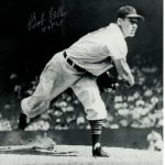 "Bob Feller Autographed Cleveland Indians (BW Throwing) 8×10 Photo w/ ""HOF 62"""