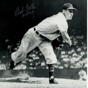 "Bob Feller Autographed Cleveland Indians (BW Throwing) 8x10 Photo w/ ""HOF 62"""