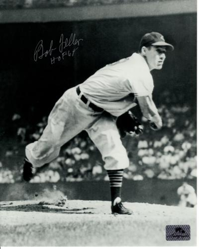 """Bob Feller Autographed Cleveland Indians (BW Throwing) 8x10 Photo w/ """"HOF 62"""""""