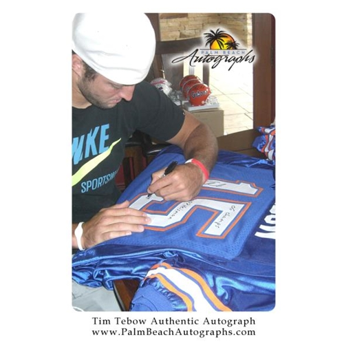 "Tim Tebow Autographed Florida Gators (Blue #15) Deluxe Framed Jersey w/ ""06 Champs"" , ""07 Heisman"" , ""08 Champs"" - Tebow Holo"