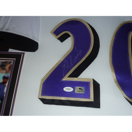 49595ff8 Ed Reed Autographed Baltimore Ravens (White #20) Deluxe Framed Jersey - JSA