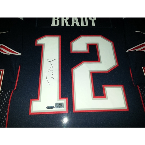 Tom Brady Autographed New England Patriots (Blue #12) Deluxe Framed Nike Jersey - TriStar