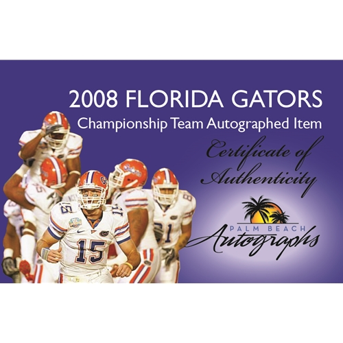 2008 Florida Gators National Champions Team And Tim Tebow Autographed (2009 BCS Championship) Deluxe Framed Panoramic Photo - 34 Signatures