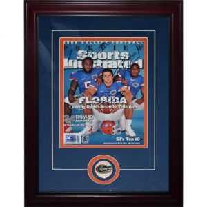 Tim Tebow, Percy Harvin and Brandon Spikes Autographed (8-11-08 Issue) Deluxe Framed Sports Illustrated Magazine