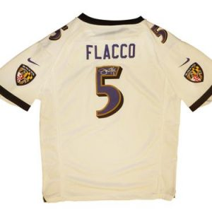 Joe Flacco Autographed Baltimore Ravens (White #5 Youth XL) Nike Jersey