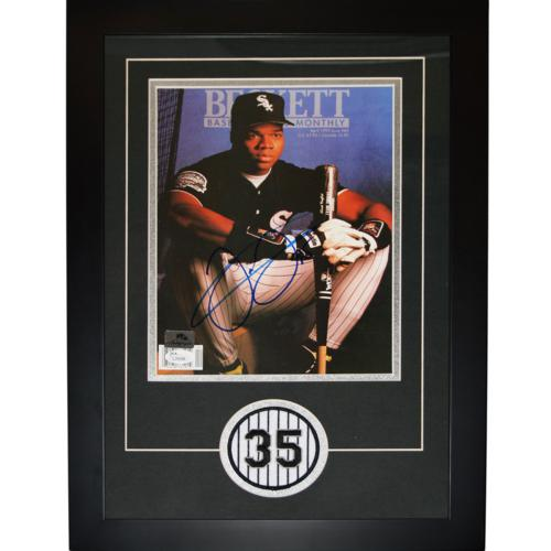 Frank Thomas Autographed Chicago White Sox Beckett Magazine Deluxe Framed with Patch - JSA