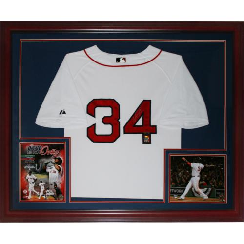 discount 5e85a 1a7c1 David Ortiz Autographed Boston Red Sox (White #34) Deluxe Framed Jersey -  Fanatics