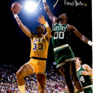 Robert Parish Autographed Boston Celtics (vs Abdul-Jabbar) 8x10 Photo