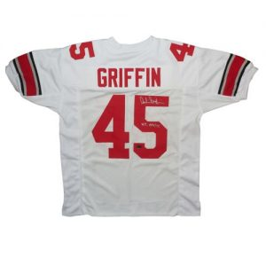 """Archie Griffin Autographed Ohio State Buckeyes (White #45) Custom Jersey w/ """"H.T. 1974/75"""""""