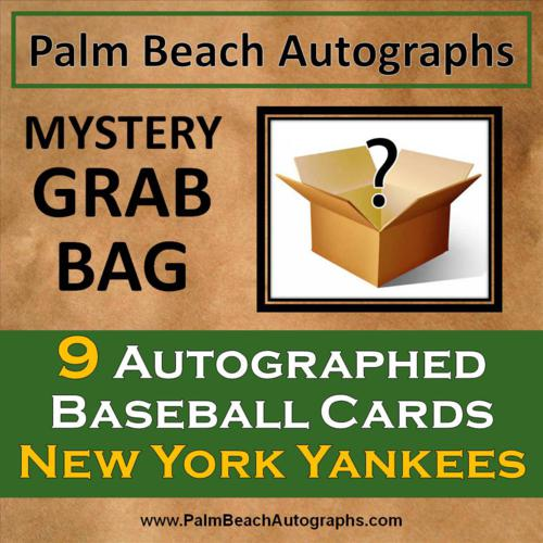 MYSTERY GRAB BAG - 9 Autographed Baseball Cards - New York Yankees