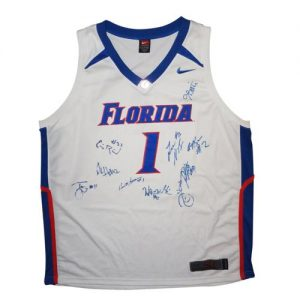 2005-06 Florida Gators Team Autographed Florida Gators (White #1) Basketball Jersey