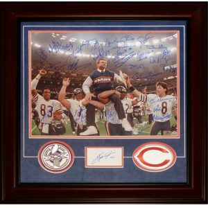1985 Chicago Bears Team (Super Bowl XX Champs) and Walter Payton Deluxe Framed 16x20 Photo with Patches - 31 Signatures
