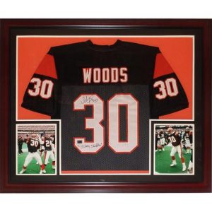 "Ickey Woods Autographed Cincinnati Bengals (Black #30) Deluxe Framed Jersey w/ ""Ickey Shuffle"""