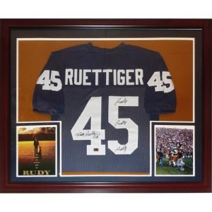 "Rudy Ruettiger Autographed Notre Dame Fighting Irish (Blue #45) Deluxe Framed Jersey w/ ""Rudy! Rudy! Rudy!"""