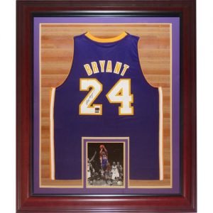 Kobe Bryant Autographed Los Angeles Lakers (Purple #24) Deluxe Framed Swingman Jersey - Panini