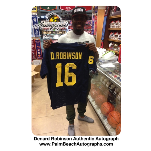 Denard Robinson Autographed Michigan Wolverines (Blue #16) Deluxe Framed Jersey w/