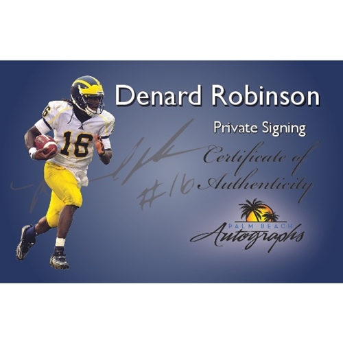 """Denard Robinson Autographed Michigan Wolverines (Blue #16) Deluxe Framed Jersey w/ """"Shoelace"""""""