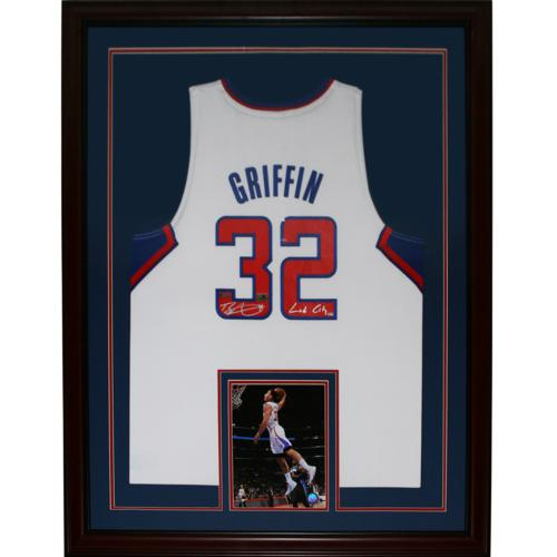 "Blake Griffin Autographed Los Angeles Clippers (White #32) Deluxe Framed Swingman Jersey w/ ""Lob City"" - Panini"