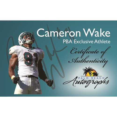 Cameron Cam Wake Autographed Miami Dolphins (Throwing Brady) 8x10 Photo - Wake Holo