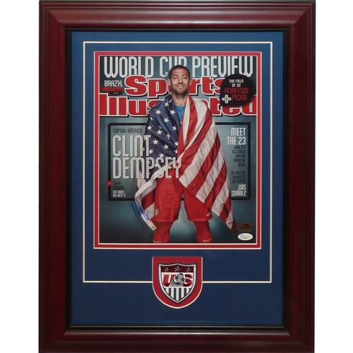 Clint Dempsey Autographed Team USA Soccer Deluxe Framed 11x14 Photo w/Patch - JSA
