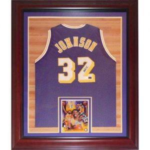 Magic Johnson Autographed Los Angeles Lakers (Purple #32) Deluxe Framed Jersey - JSA