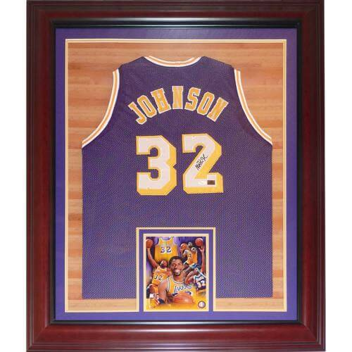 sale retailer 1c0df 68b82 Magic Johnson Autographed Los Angeles Lakers (Purple #32) Deluxe Framed  Jersey - JSA