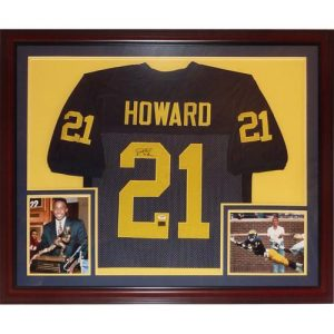 "Desmond Howard Autographed Michigan Wolverines (Blue #21) Deluxe Framed Jersey w/ ""91 Heisman"""